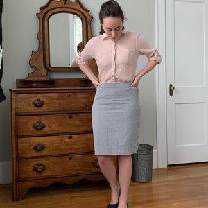 J. Crew Pencil Seersucker Pencil Skirt, Size 2